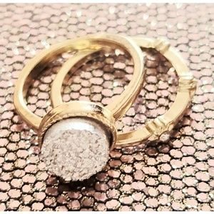 Dazzling duo of 14 k gold plated rings Fire!!
